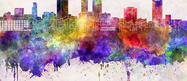 鮮やかに描かれた都会